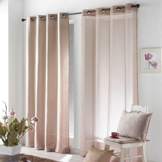 voilage 140 x h240 cm salsa taupe voilage eminza. Black Bedroom Furniture Sets. Home Design Ideas