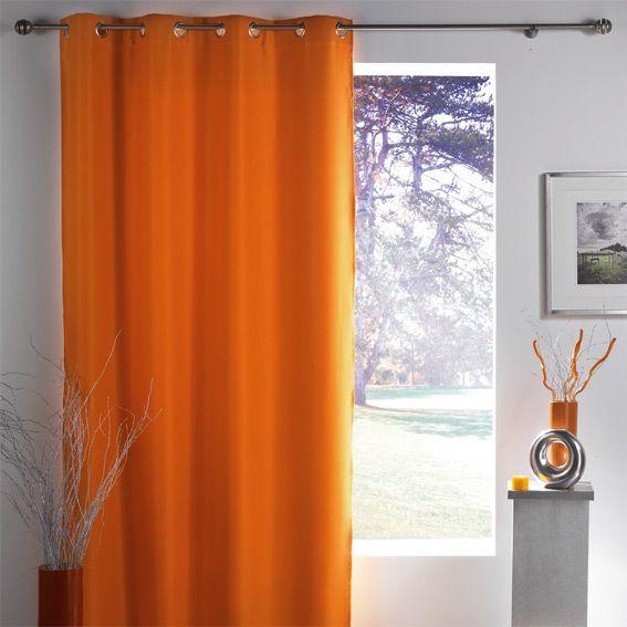 rideau occultant 140 x h260 cm lumia orange rideau occultant eminza. Black Bedroom Furniture Sets. Home Design Ideas
