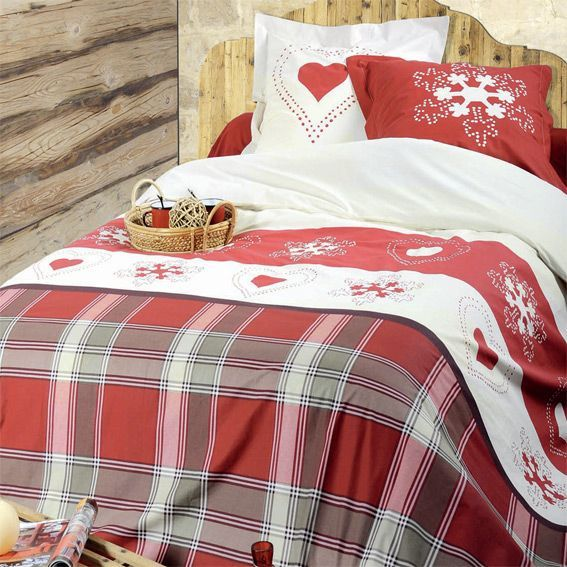 parure de draps 4 pi ces abries rouge parure de draps eminza. Black Bedroom Furniture Sets. Home Design Ideas