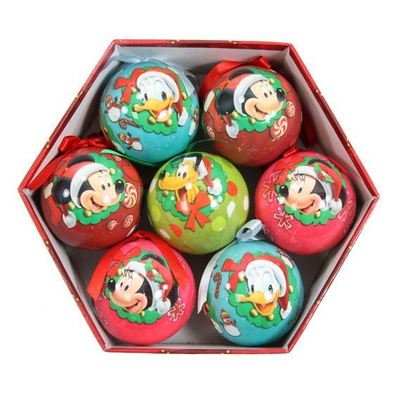 coffret de 7 boules de no l disney mickey boule de no l. Black Bedroom Furniture Sets. Home Design Ideas