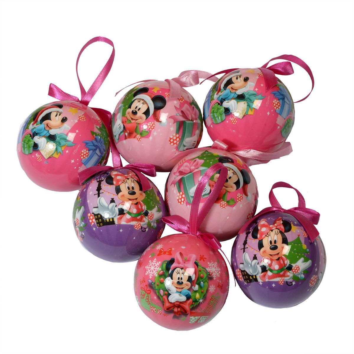 coffret de 7 boules de no l disney minnie boule de no l. Black Bedroom Furniture Sets. Home Design Ideas