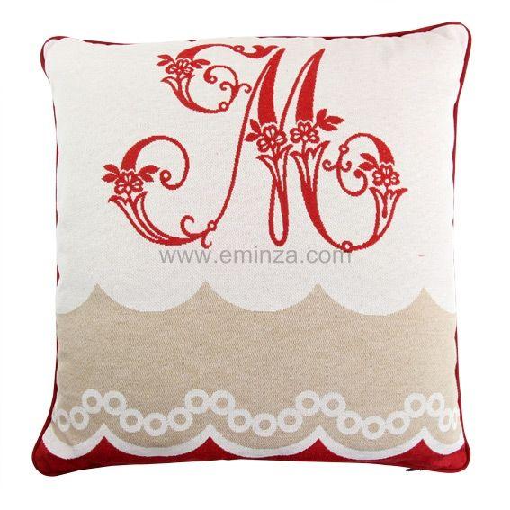 coussin montclar monogramme rouge coussin et housse de coussin eminza. Black Bedroom Furniture Sets. Home Design Ideas