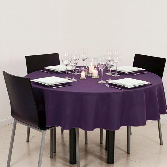 nappe ronde d180 cm uni violet nappe de table eminza. Black Bedroom Furniture Sets. Home Design Ideas