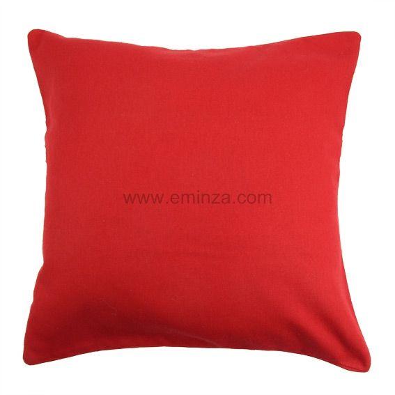 Lot de 2 housses de coussin 60 cm contemporaine rouge - Housse de coussin rouge ...