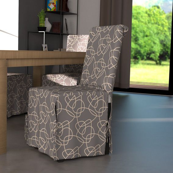 housse de chaise graphique gris et motif blanc housse de chaise eminza. Black Bedroom Furniture Sets. Home Design Ideas