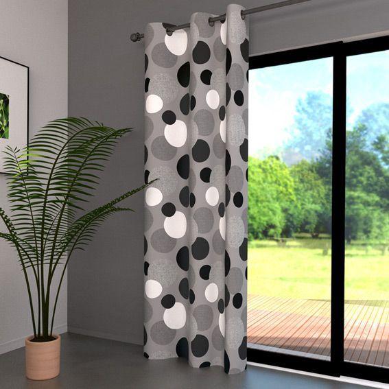 rideau 140 x h250 cm pop gris rideau tamisant eminza. Black Bedroom Furniture Sets. Home Design Ideas