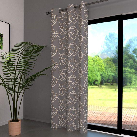 rideau 140 x h250 cm graphique gris rideau tamisant. Black Bedroom Furniture Sets. Home Design Ideas