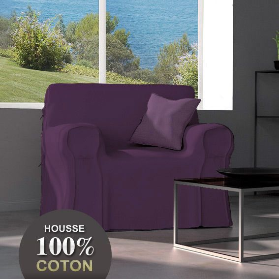 housse de fauteuil gamme contemporaine violet housse de fauteuil eminza. Black Bedroom Furniture Sets. Home Design Ideas