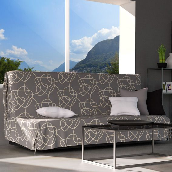 housse de clic clac graphique gris housse de clic clac bz eminza. Black Bedroom Furniture Sets. Home Design Ideas