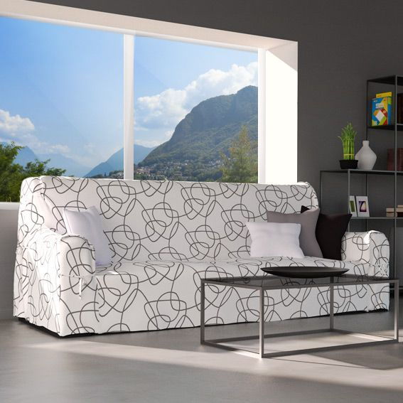 housse de canap graphique blanc et motif gris housse de canap eminza. Black Bedroom Furniture Sets. Home Design Ideas
