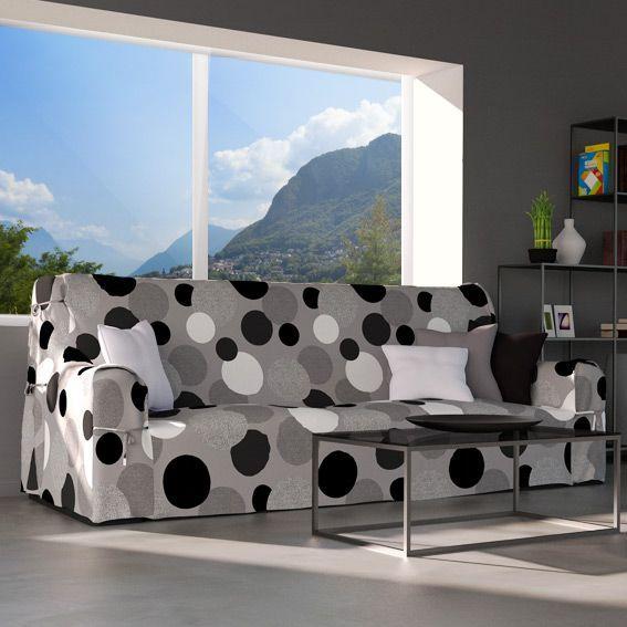 Housse de canap pop gris et motif noir et blanc housse for Housse clic clac noir et blanc