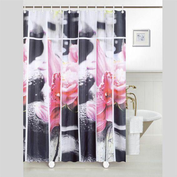 rideau de douche galet rose premium rideau de douche eminza. Black Bedroom Furniture Sets. Home Design Ideas