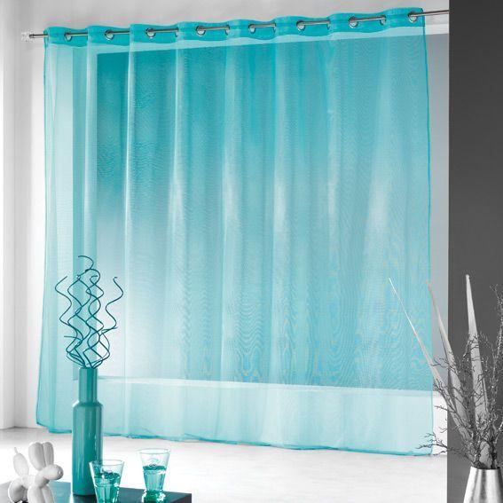 Voilage oeillets l400 cm finette turquoise voilage eminza - Rideau voilage bleu turquoise ...