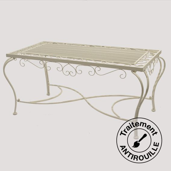 Table Basse Style Fer Forg Rectangulaire Ecru Mobilier