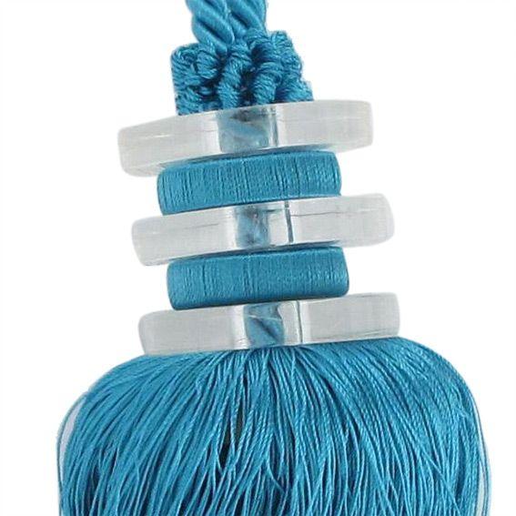 embrasse pompon lettra turquoise embrasse pince et d coration eminza. Black Bedroom Furniture Sets. Home Design Ideas