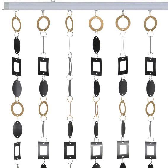 rideau de porte anneaux noir et or rideau de porte eminza. Black Bedroom Furniture Sets. Home Design Ideas
