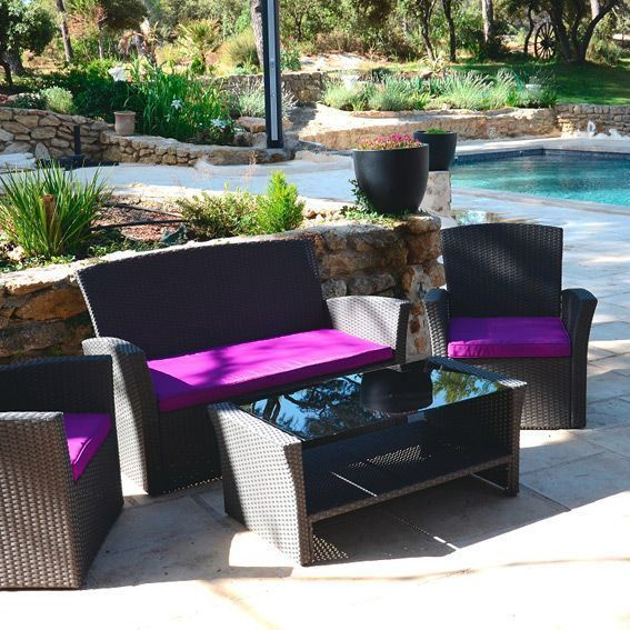 lot de 3 coussins pour salon de jardin ibiza violet. Black Bedroom Furniture Sets. Home Design Ideas