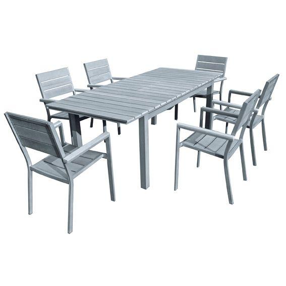 Table de jardin extensible pvc for Table extensible gris et bois