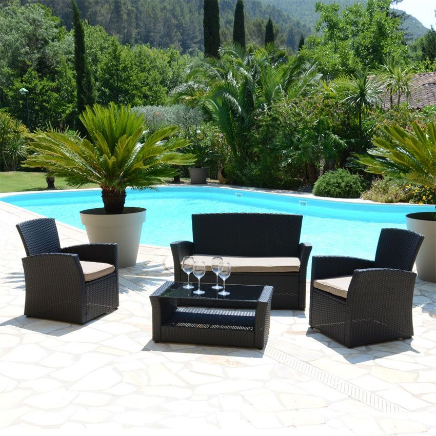 Salon de jardin ibiza noir taupe 4 places salon de for Salon jardin 4 places