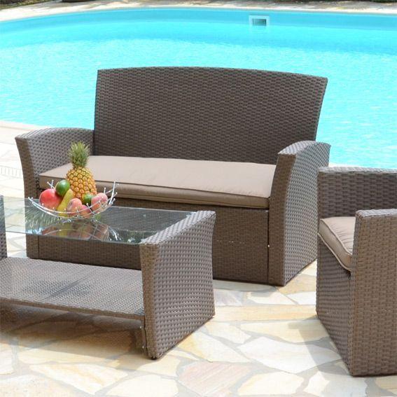 salon de jardin ibiza taupe 4 places salon de jardin. Black Bedroom Furniture Sets. Home Design Ideas