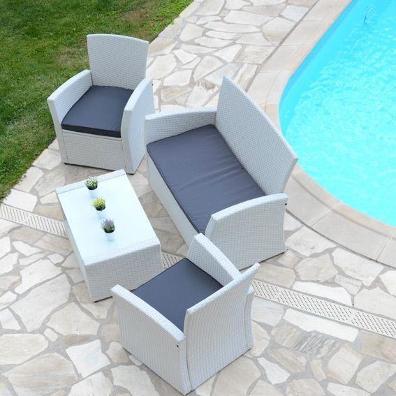Salon de jardin Ibiza Blanc/Anthracite - 4 places - Salon de ...