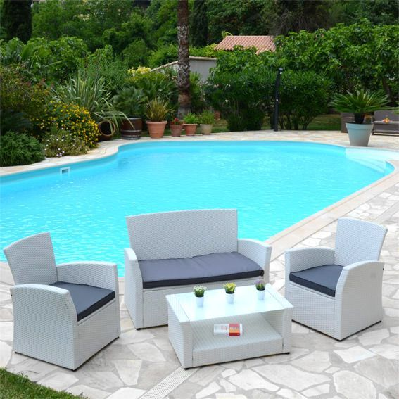 Salon de jardin Ibiza Blanc/Anthracite - 4 places - Salon de ...