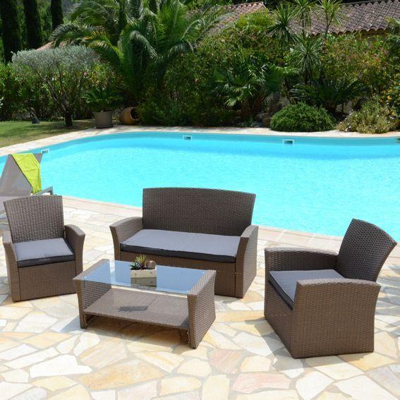 Salon de jardin ibiza taupe et gris 4 places salon de for Decoration jardin gris