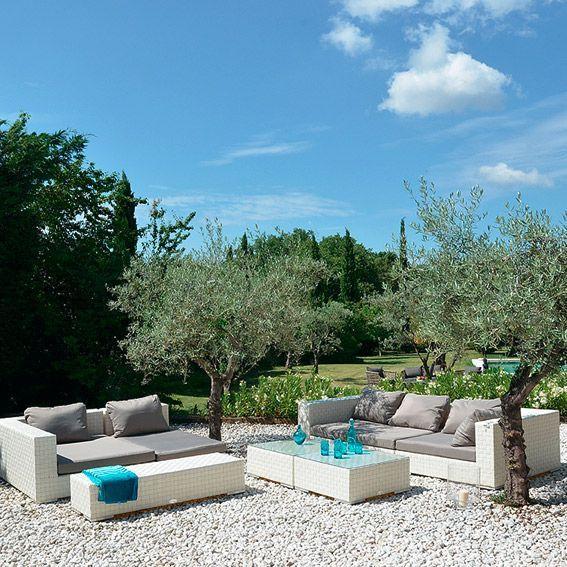 Salon De Jardin Agadir Blanc Gris 7 Places Salon De Jardin D Tente Eminza