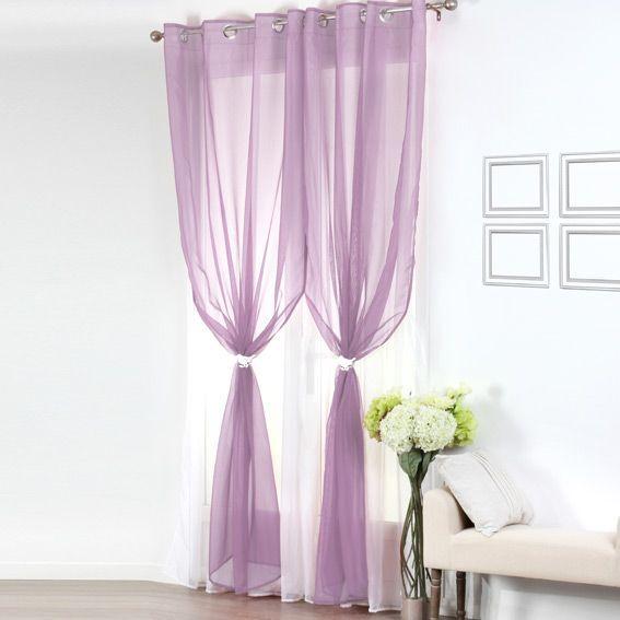 voilage oeillets double bicolore parme et blanc. Black Bedroom Furniture Sets. Home Design Ideas