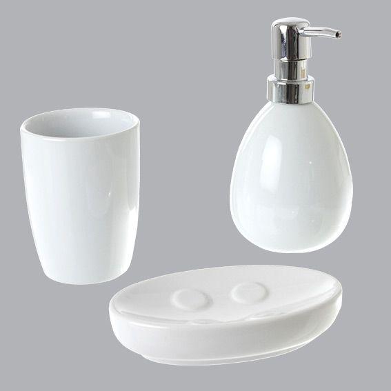 kit d 39 accessoires de salle de bain blanc distributeur de savon eminza. Black Bedroom Furniture Sets. Home Design Ideas