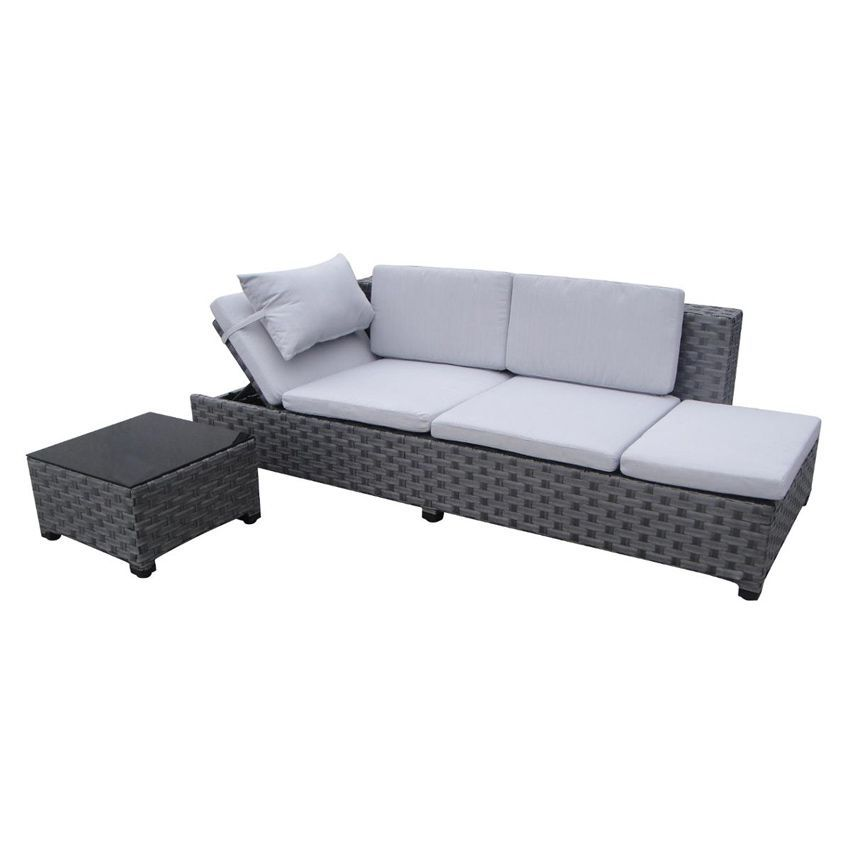 banquette d tente de jardin catalana gris 4 places salon de jardin eminza. Black Bedroom Furniture Sets. Home Design Ideas