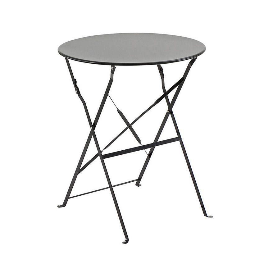 table de jardin ronde pliante m tal camargue d60 cm noir table de jardin eminza. Black Bedroom Furniture Sets. Home Design Ideas