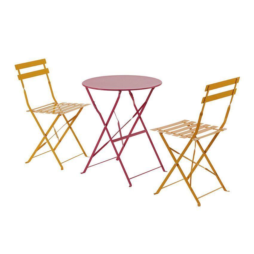 Lot de 2 chaises de jardin pliantes camargue mandarine - Chaises jardin pliantes ...