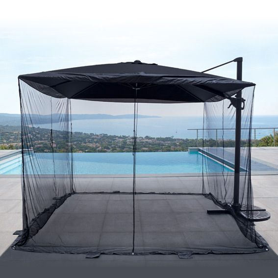 Moustiquaire pour parasol d port carr 3 x 3 m pied et - Tonnelle de jardin avec moustiquaire ...