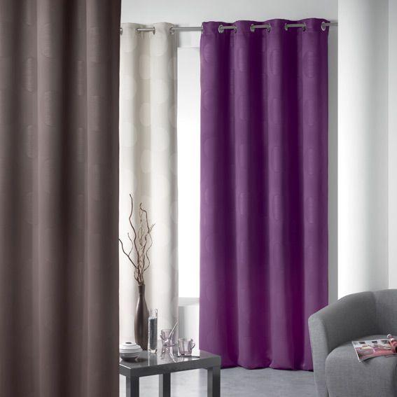 rideau occultant 140 x h260 cm oslo prune rideau. Black Bedroom Furniture Sets. Home Design Ideas