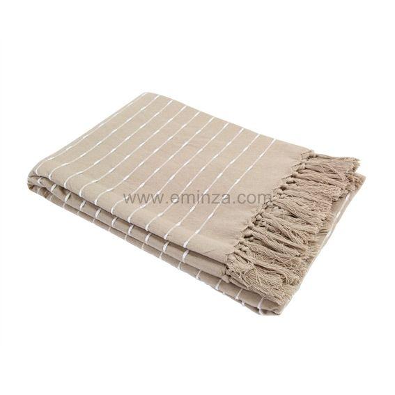 Plaid en coton 220 cm natura taupe jet de canap eminza for Plaid taupe pour canape