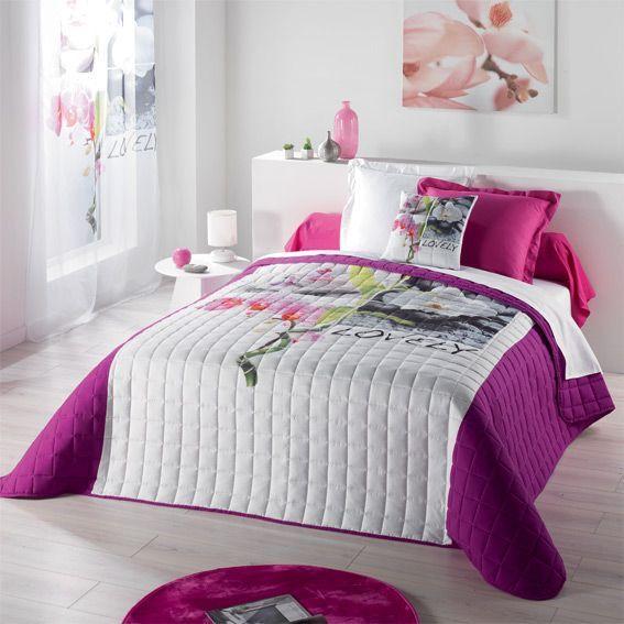 Couvre lit 220 x 240 cm matelass vahin violet couvre lit boutis eminza - Dessus de lit matelasse ...
