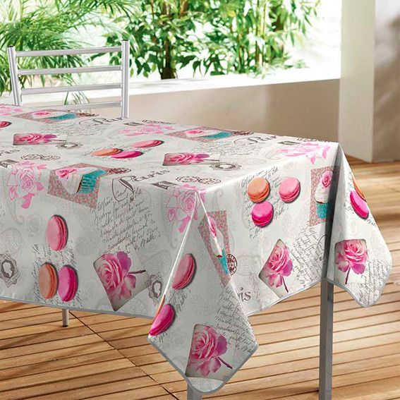 Nappe cir e rectangulaire l240 cm sweet paris linge de for Nappe toile ciree rectangulaire