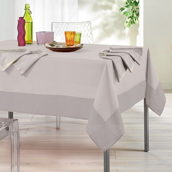 nappe rectangulaire l240 cm mistral jacquard cru nappe de table eminza. Black Bedroom Furniture Sets. Home Design Ideas