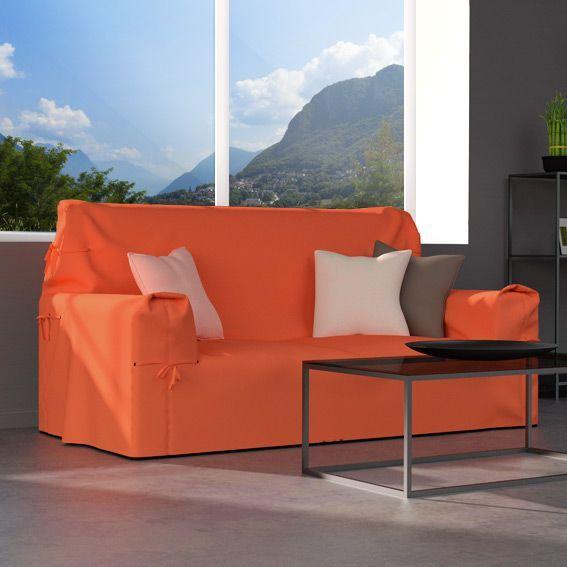 housse de canap 2 places gamme contemporaine orange corail housse de canap eminza. Black Bedroom Furniture Sets. Home Design Ideas
