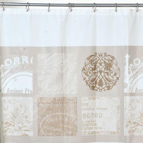 Rideau de douche romance blanc rideau de douche eminza for Rideau fenetre salle de bain