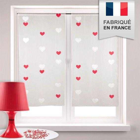 paire de voilage droit h140 cm double coeur rouge rideau et voilage eminza. Black Bedroom Furniture Sets. Home Design Ideas