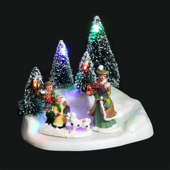 Idee Deco noel lumineux : Village de Noël lumineux Scène des sapins - Village de Noël ...