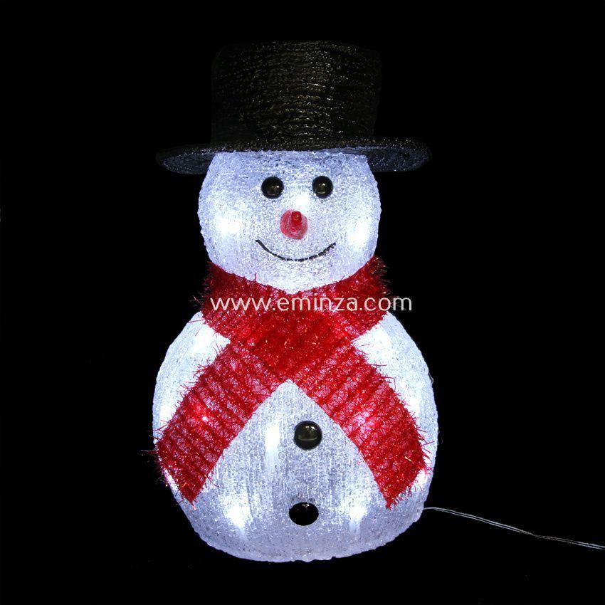 Bonhomme de neige lumineux chapeau noir blanc froid 32 led silhouette lumineuse eminza - Chapeau bonhomme de neige ...