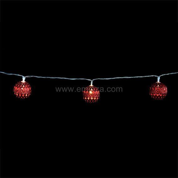 guirlande lumineuse jill rouge blanc chaud 10 led guirlande lumineuse eminza. Black Bedroom Furniture Sets. Home Design Ideas