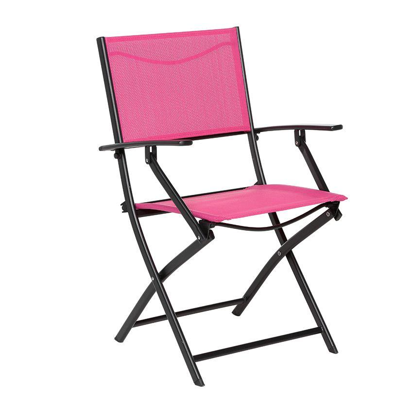 fauteuil de jardin pliant modula framboise noir chaise. Black Bedroom Furniture Sets. Home Design Ideas