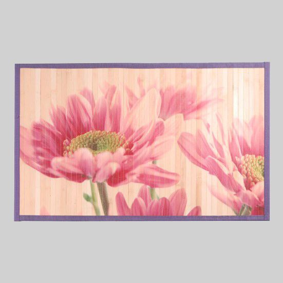 Tapis de bain flowers bois bambou tapis salle de bain for Tapis salle de bain en bois