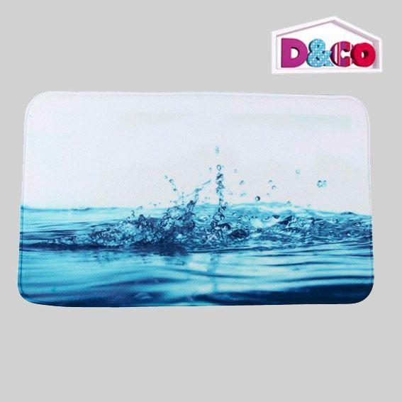 tapis de bain goutte d'eau d&co bleu - tapis salle de bain - eminza - Tapis Salle De Bain Bleu