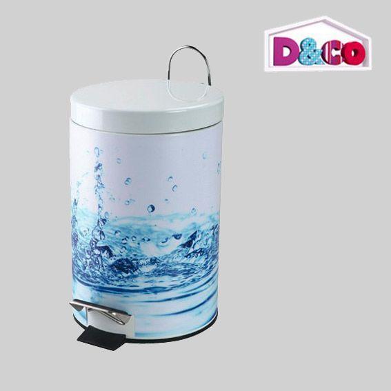 Poubelle p dale d co goutte d 39 eau bleu poubelle eminza for Poubelle de salle de bain bleu