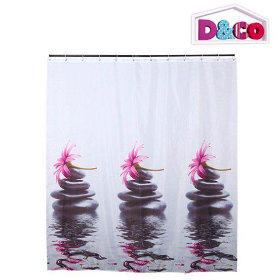rideau de douche galets d co rose premium rideau de douche eminza. Black Bedroom Furniture Sets. Home Design Ideas